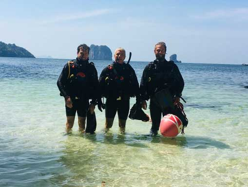 PADI Rescue Diver Course students Jeff and Mark, with Instructor Vincent