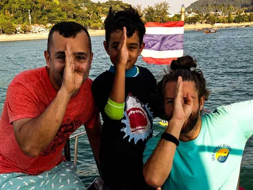 Happy PADI Scuba Divers with Instructor Vincent